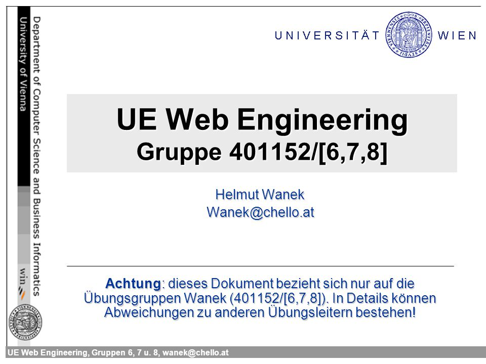 UE Web Engineering Gruppe 401152/[6,7,8]